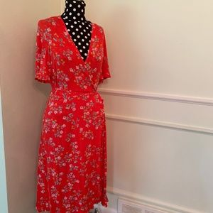 Topshop Red Floral Midi Wrap Dress Ruffle Sleeve